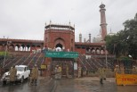 Police stand guard outside Jama Masjid after a shooting incident in the old quarters of Delhi
