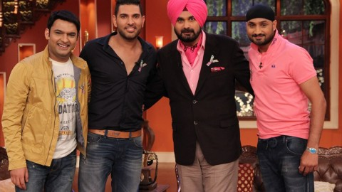 Yuvraj Singh and Harbhajan Singh at Comedy Nights with Kapil