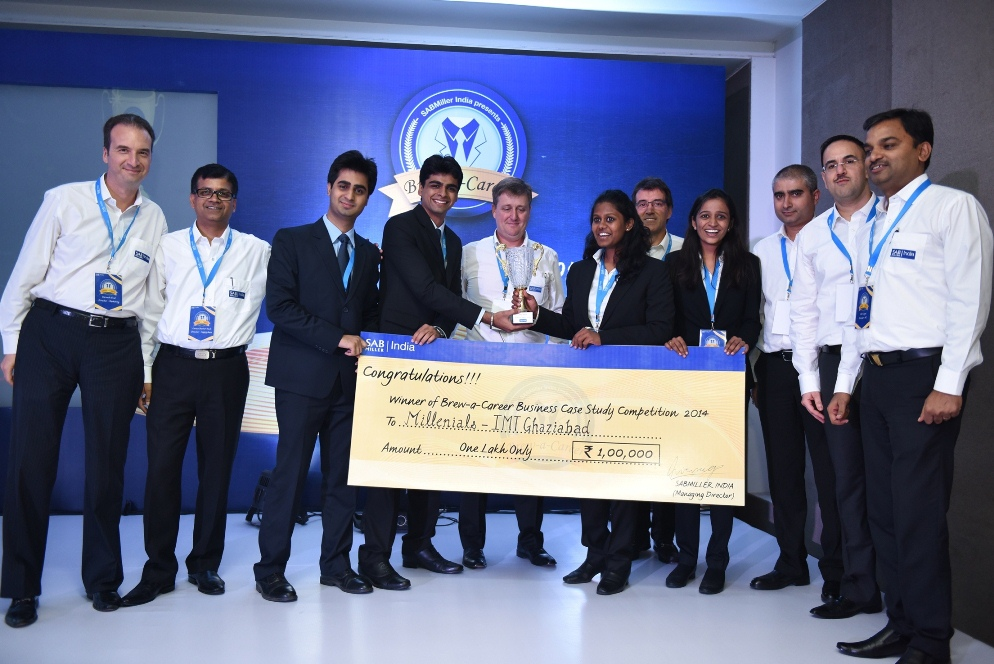 Executive Committee of SABMiller India with the winning team from IMT Ghaziabad
