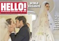 Angelina Jolie's wedding dress on People, Hello! magazine covers