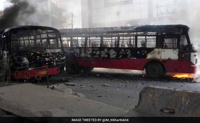 Cars, Buses vandalized in the Bengaluru riots over PF