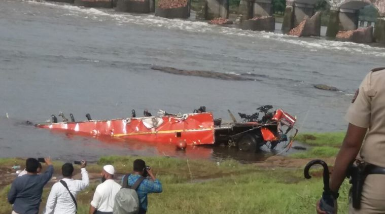 WRECKAGE OF PLUNGED ST BUS FOUND IN MAHAD RIVER